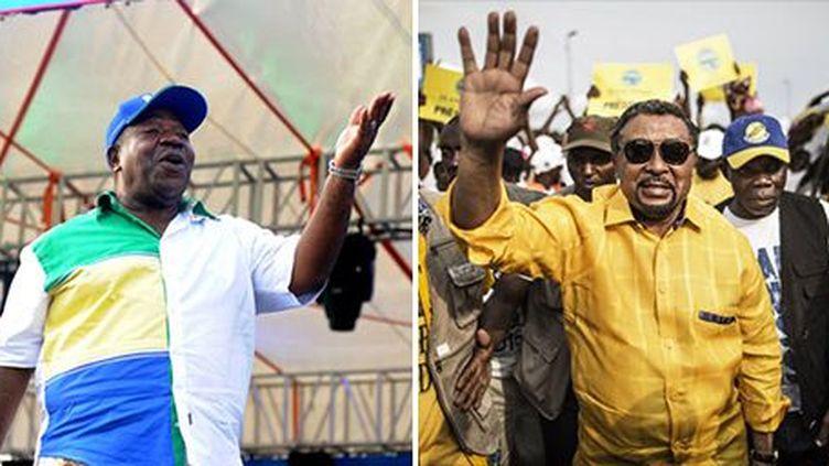 A gauche, Ali Bongo, président sortant, déclaré élu par la Commission électorale. A droite, l'opposant Jean Ping qui revendique aussi la victoire. Il s'est proclamé président de la République du Gabon. (Photo AFP)