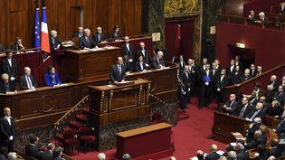 Le président François Hollande s'exprime devant le congrès réuni à Versailles le 16 novembre 2015;