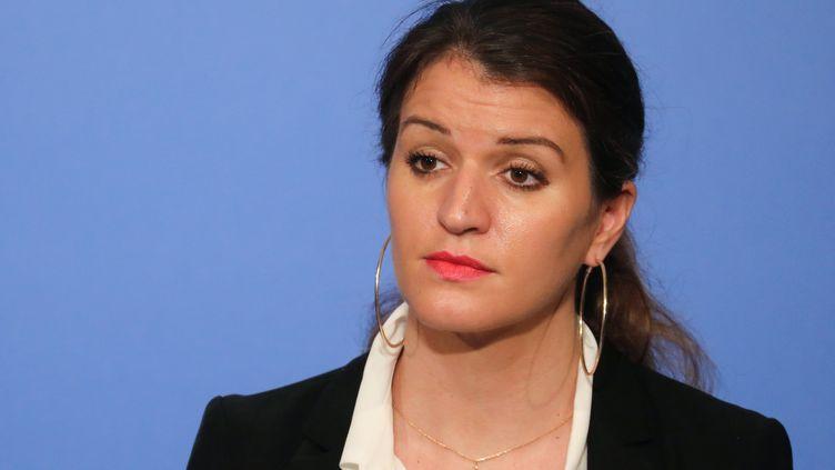 La secrétaire d'Etat à l'Egalité entre les femmes et les hommes, Marlène Schiappa, le 21 mars 2018 à l'Elysée, à Paris. (LUDOVIC MARIN / AFP)