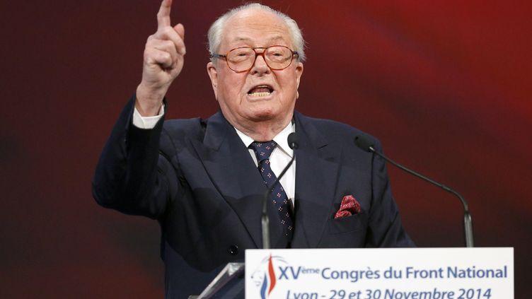 Jean-Marie Le Pen, le 29 novembre 2014,à Lyon (Rhône), lors d'un congrès du Front national. (ROBERT PRATTA / REUTERS)