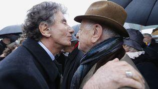 Jack Lang et Pierre Bergé lors des 20 ans de la mort de François Mitterand, le 8 janvier 2016. (REGIS DUVIGNAU / POOL)