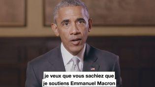 L'ancien président des Etats-Unis Barack Obama apporte son soutien à Emmanuel Macron dans une vidéo diffusée sur Twitter, le 4 mai 2017. (FRANCEINFO / COMPTE TWITTER EN MARCHE !)