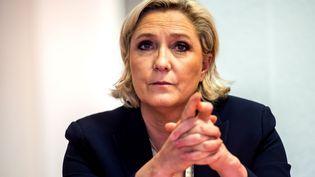 Marine Le Pen lors d'une conférence de presse à Lens (Pas-de-Calais), le 14 juin 2017. (PHILIPPE HUGUEN / AFP)