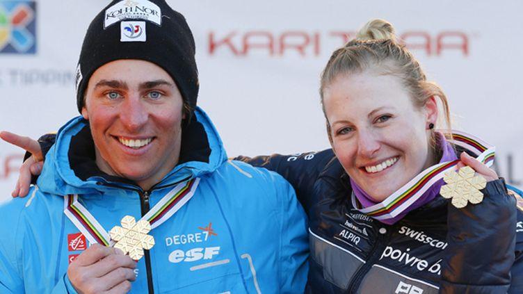 Jean-Frédéric Chapuis et la Suissesse Fanny Smith, champions du monde 2013 de skicross (HAKON MOSVOLD LARSEN / MAXPPP)