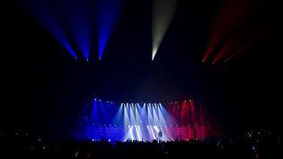 La scène de Bercy, à Paris, aux couleurs du drapeau français, le 21 décembre 2015, lors d'un concert pour remercier les personnes qui ont été actives durant et après les attentats de Paris. (KENZO TRIBOUILLARD / AFP)