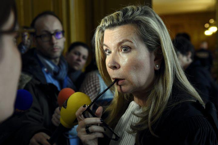 L'avocate Nathalie Tomasini lors du procès de Sylvie Leclerc qui, en 2012, tua son conjoint d'une balle dans le coeur pendant son sommeil, le 21 mars 2016 à Nancy (Meurthe-et-Moselle). (MAXPPP)