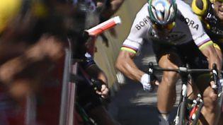 Peter Sagan, le 4 juillet 2017, lors de l'arrivée de la 4e étape du Tour de France à Vittel (Vosges). (JEFF PACHOUD / AFP)