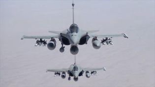Deux avions de combat Rafale lors d'une mission en Irak le 19 septembre 2014. (JEAN-LUC BRUNET / ECPAD)