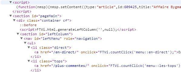 Capture d'écran d'une partie du code HTML utilisé dans un article de Francetv info. (  FRANCETV INFO )