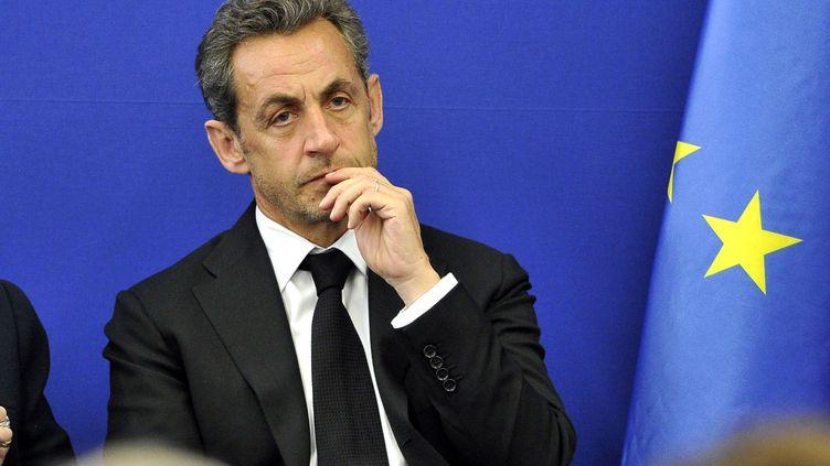Nicolas Sarkozy, le 10 mars 2014, lors de l'inauguration de l'Institut Claude Pompidou, à Nice (Alpes-Maritime). (BRUNO BEBERT/SIPA)
