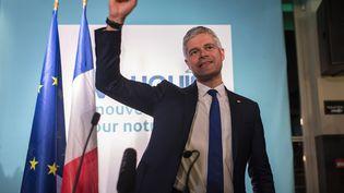Laurent Wauquiez, tête de liste des Républicains, vainqueur des élections régionales en Auvergne-Rhône-Alpes, le 13 décembre 2015 à Lyon. (ROMAIN LAFABREGUE / AFP)