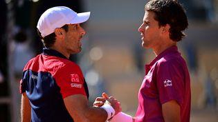 Dominic Thiem s'est incliné face à Pablo Andujar dimanche 30 mai. (MARTIN BUREAU / AFP)