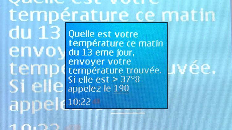 Le SMS envoyé le 27 mars 2020 par le ministère tunisien de la Santé au réalisateur Mehdi Barsaoui à son 13e jour d'auto-confinement à Tunis, la capitale du pays. ((MEHDI BARSAOUI))