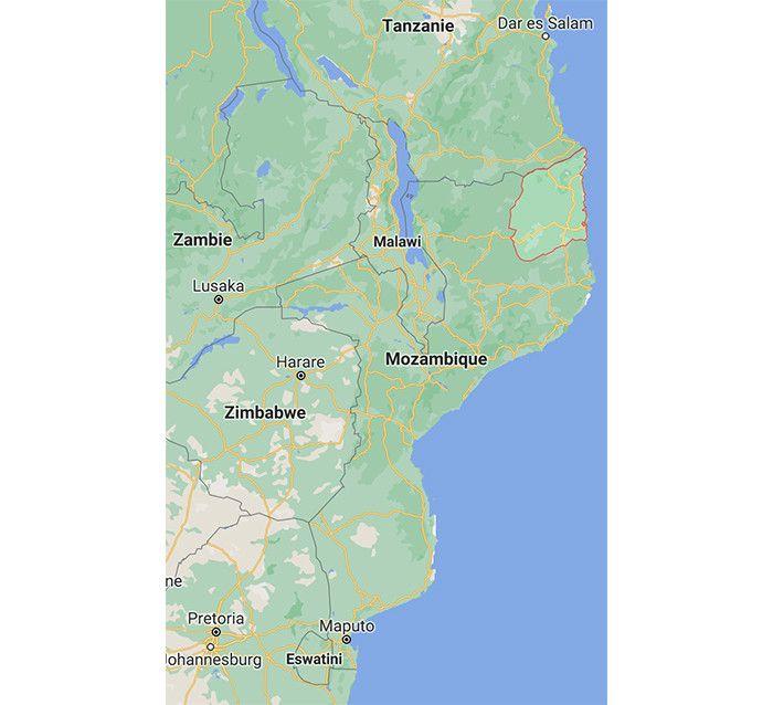 La carte du Mozambique avec à l'extrême nord, la province Cabo Delgado (GOOGLE MAPS)