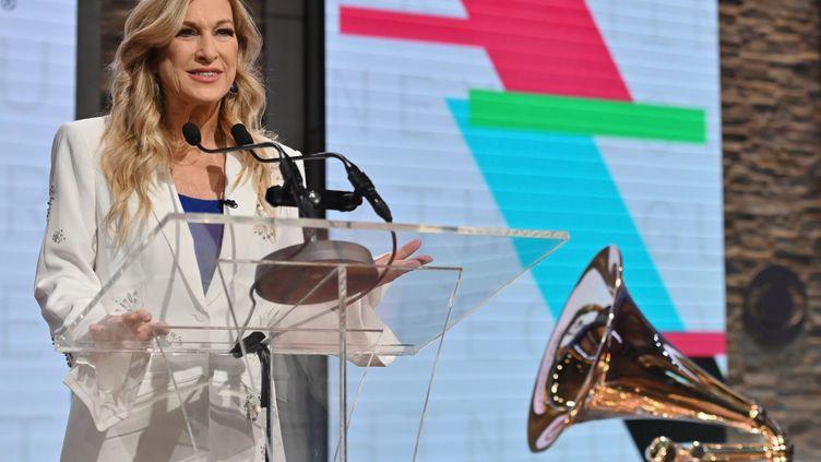 Deborah Dugan, PDG del'Académie des arts et sciences de l'enregistrement, l'association professionnelle américaine qui organise les Grammys (ANGELA WEISS / AFP)