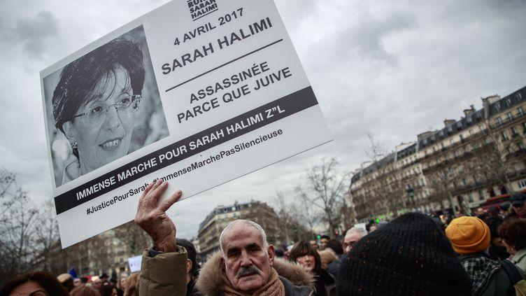 Manifestation en soutien aux proches de Sarah Halimi, le 5 janvier 2020 (CHRISTOPHE PETIT TESSON / EPA)