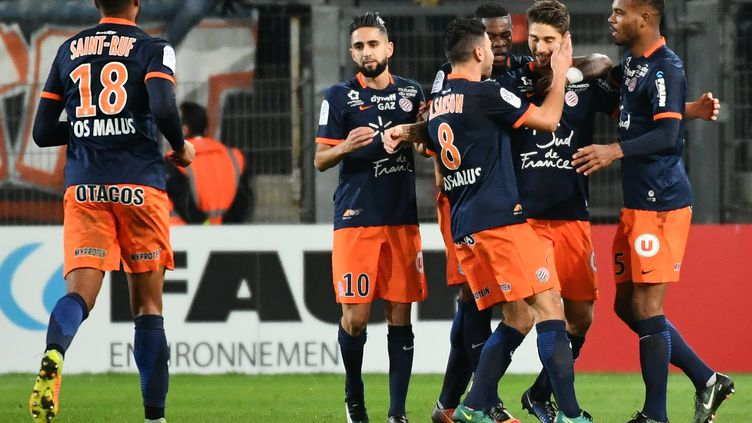 Les joueurs de Montpellier ont donné une leçon de réalisme au PSG (PASCAL GUYOT / AFP)