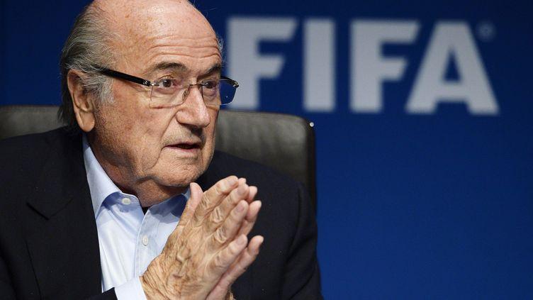 Le président de la Fifa, Sepp Blatter, lors d'une conférence de presse à Zurich (Suisse), le 26 septembre 2014. (MAXPPP)