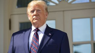 Donald Trump sur le perron de la Maison Blanche, à Washington (Etats-Unis), le 2 octobre 2019. (STEFANI REYNOLDS / CONSOLIDATED NEWS PHOTOS / AFP)