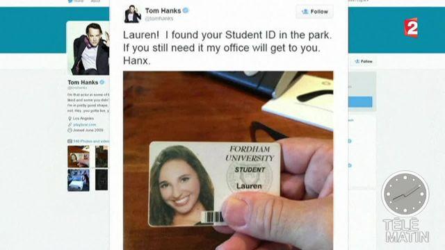 m Hanks retrouve la carte d'étudiante d'une jeune femme