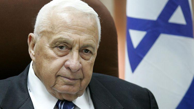 Ariel Sharon, alors Premier ministre d'Israël,le 11 juillet 2005, au Parlement israélien à Jérusalem. (YOAV LEMMER / AFP)