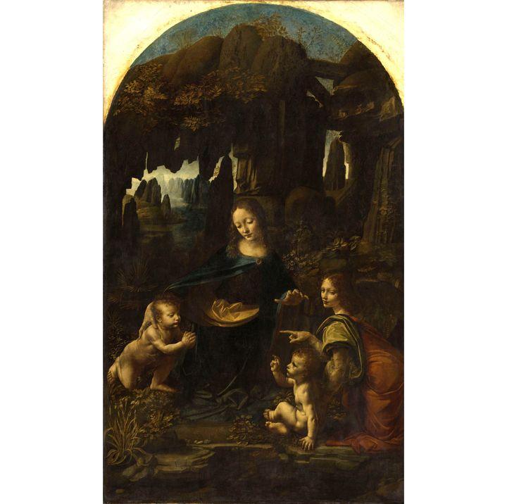 """Léonard de Vinci, """"Vierge à l'Enfant avec saint Jean Baptiste et un ange"""", dite """"La Vierge aux rochers"""", vers 1483-1494. Paris, musée du Louvre,département des Peintures (© RMNGrand Palais (musée du Louvre) / Michel Urtado)"""