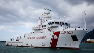 "Le navire ""Gregoretti"", au port de Salerne (Sicile, Italie), en 2017. (PAOLO MANZO / NURPHOTO / AFP)"