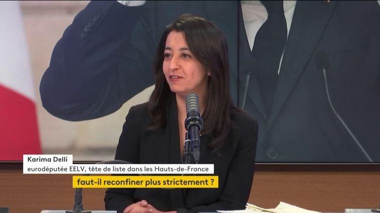 Karima Delli, eurodéputée EELV, tête de liste de la gauche pour les régionales dans les Hauts-de-France, invitée du 8H30 franceinfo, dimanche 28 mars 2021. (FRANCEINFO)