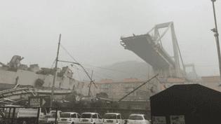 Un viaduc de l'autoroute A10 s'est effondré à Gênes (Italie), le 14 août 2018. (POLIZIA DI STATO)
