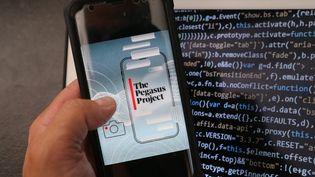 Le visuel du logiciel espion Pegasus, le 20 juillet 2021. (JEAN-FRANCOIS FREY / MAXPPP)
