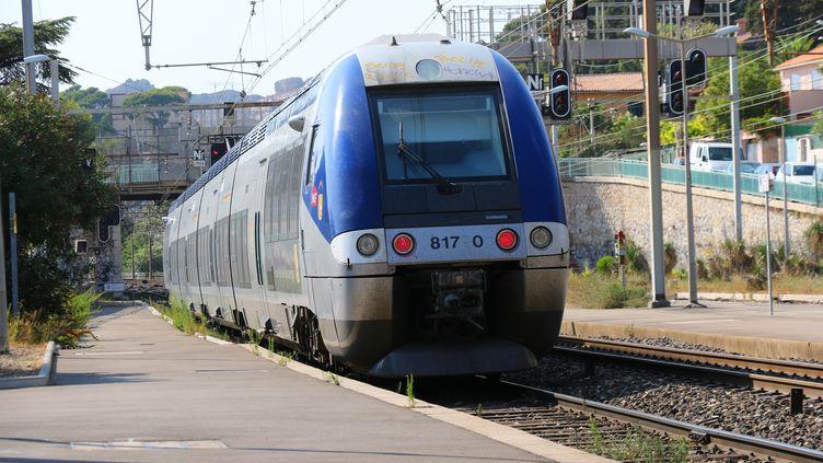 Un train TER dans le quartier marseillais de l'Estaque (Bouches-du-Rhône), le 2 décembre 2017. (J-M EMPORTES / ONLY FRANCE / AFP)