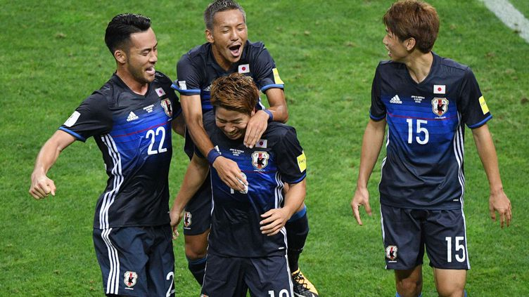 Les Japonais euphoriques après leur qualification pour la Coupe du Monde 2018 en Russie. (MASANORI INAGAKI / YOMIURI)