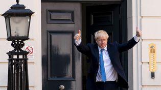 Boris Johnson, le nouveau Premier ministre anglais, devant le siège du Parti conservateur à Londres, le 23 juillet 2019 (NIKLAS HALLE'N / AFP)
