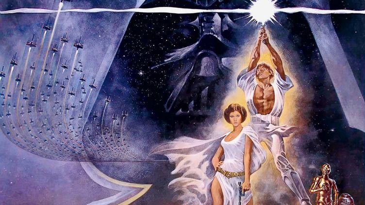"""""""La Guerre des étoiles"""" de George Lucas : l'affiche française , détail (1977) (LUCASFILMS LTD / THE WALT DISNEY COMPANY)"""