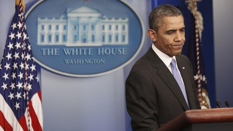 Le président américain, Barack Obama, donne une conférence de presse sur son bilan de 2013, le 20 décembre 2013 à Washington DC. (JONATHAN ERNST / REUTERS)