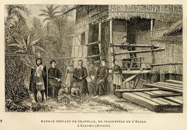 Mission de Kanowit, Bornéo Au centre, Thomas Jackson, à droite, Edmund Dunn 1883 - Annales de la Propagation de la Foi, 1885 (© O.P.M.)