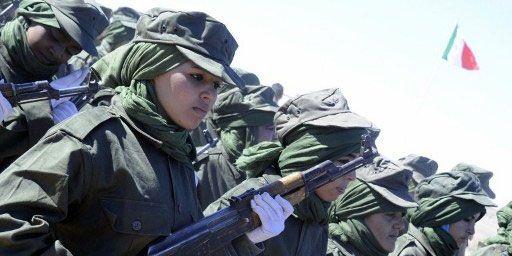 Des femmes soldats du Front Polisario paradent à Tifariti, lors du 35e anniversaire de la proclamation d'indépendance de la République arabe sahraouie démocratique, le 27 février 2011. (AFP PHOTO/ DOMINIQUE FAGET)