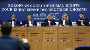 Les juges de la Grande chambre de laCour européenne des droits de l'homme, à Strasbourg, le 22 novembre 2017. (FREDERICK FLORIN / AFP)