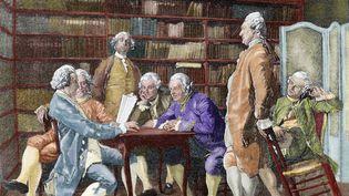 """Réunion de philosophes et d'intellectuels autour de Denis Diderot (1713-1784).Gravure tirée de """"La Ilustracion Artistica"""". (LEEMAGE / AFP /PRISMA ARCHIVO)"""