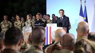 Emmanuel Macron àN'Djamena (Tchad),le 22 décembre 2018. (LUDOVIC MARIN / AFP)