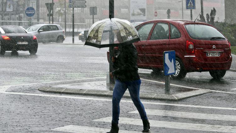 La ville de Maubeuge (Nord) sous la pluie, le 14 septembre 2015. (MAXPPP)