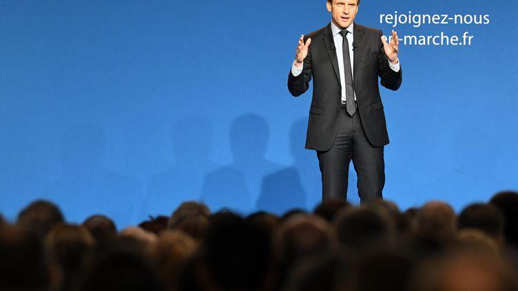 Emmanuel Macron, lors d'un meeting à Caen (Calvados), le 4 mars 2017. (JEAN-FRANCOIS MONIER / AFP)