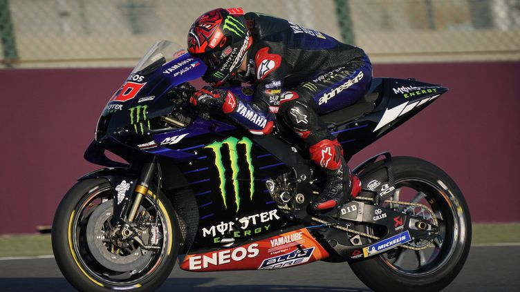 Fabio Quartararo (Yamaha) lors des essais hivernaux de la saison 2021 à Losail, au Qatar, le 6 mars 2021 (GIGI SOLDANO / STDIO)