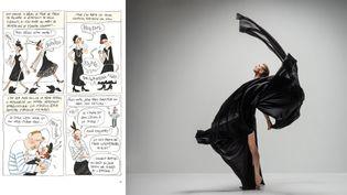 """Extrait de la BDLa Mode déshabillée(Casterman)deFrédéricGodartetZoéThouron(à gauche).Exposition """"Mouvements"""" du créateur Mossi (à droite). (Julien Benhamou pour Mossi (à droite))"""