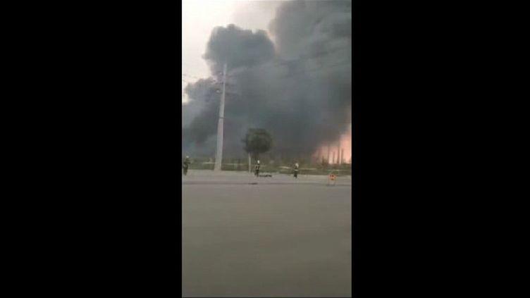 Capture d'écran d'une vidéo amateur diffusée sur CCTV, la télévision d'Etat chinoise, qui relate l'explosion survenue le 19 juillet 2019. (ZHANG GAOPENG)