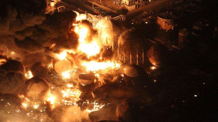 Image aérienne, des raffineries de Cosmo Oil Co à à Ichihara, Chiba. (Getty Images/Sankei via)