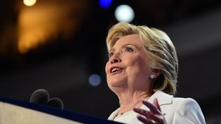 Hillary Clinton lors de son discours à la Convention démocrate le 28 juillet 2016. (ROBYN BECK / AFP)