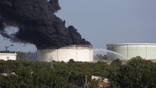 De la fumée s'échappe d'une cuve sur le site pétrochimique de LyondellBasell, à Berre-l'Etang (Bouches-du-Rhône), le 14 juillet 2015. (PHILIPPE LAURENSON / REUTERS)