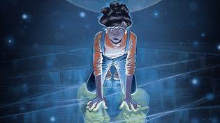 """Couverture de""""Olive, Tome 1- Une Lune bleue dans la tête"""", de Véro Cazot, scénario, et Lucy Mazel, dessins et couleurs (EDITIONS DUPUIS)"""