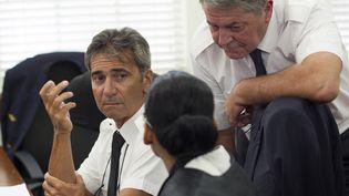 Les pilotes Bruno Odos et Pascal Fauret accusés de trafic de drogue le 5 juin 2015 à Saint Domingue. (ERIKA SANTELICES / AFP)